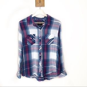Rails pink and blue plaid button up shirt